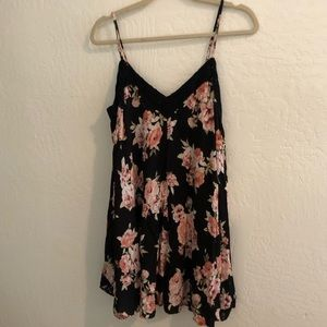 Black floral and lace cotton dress